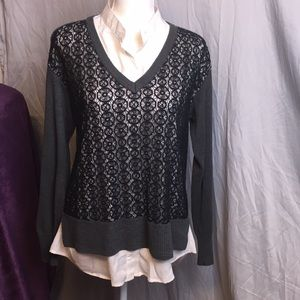 Simply Vera blouse with sweater overlay
